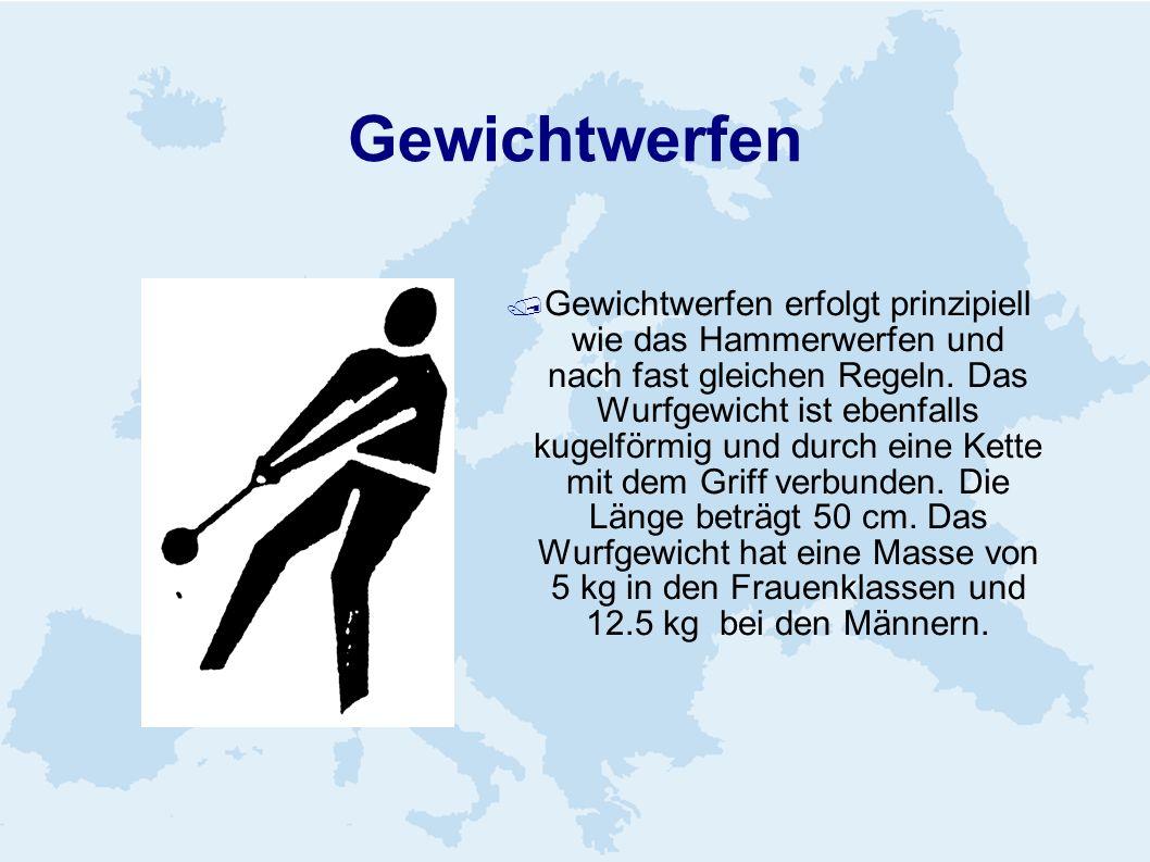 Gewichtwerfen Gewichtwerfen erfolgt prinzipiell wie das Hammerwerfen und nach fast gleichen Regeln. Das Wurfgewicht ist ebenfalls kugelförmig und durc