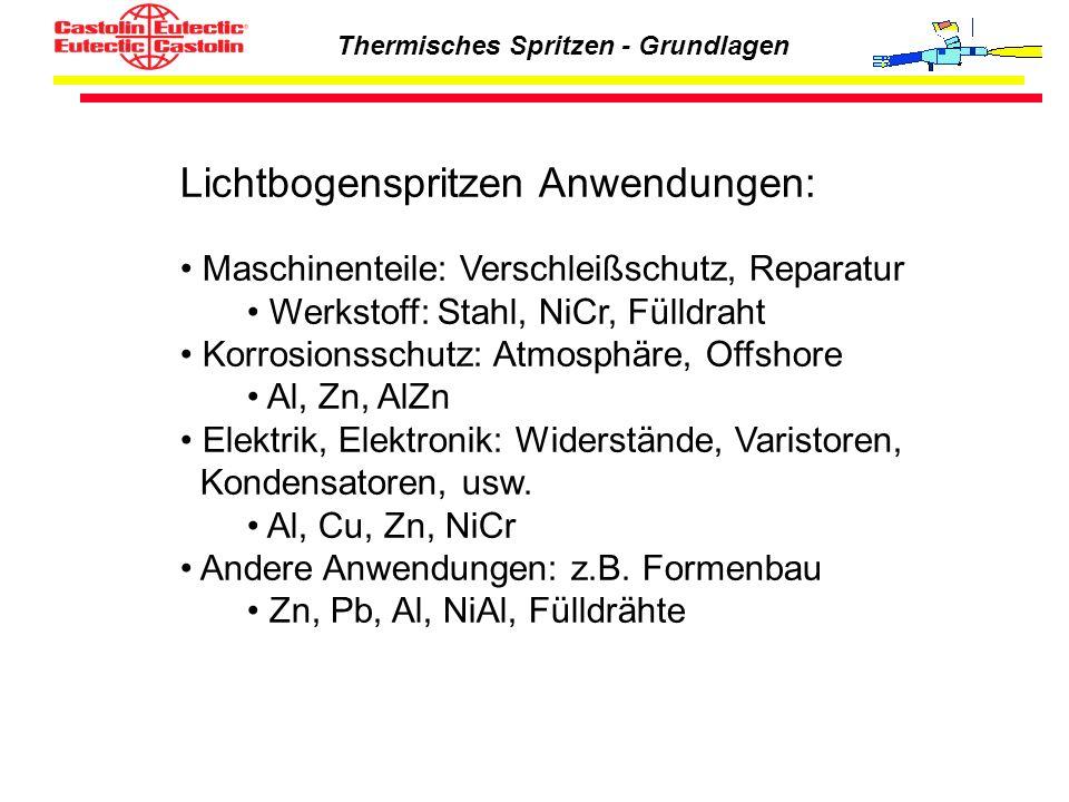 Thermisches Spritzen - Grundlagen Lichtbogenspritzen Anwendungen: Maschinenteile: Verschleißschutz, Reparatur Werkstoff: Stahl, NiCr, Fülldraht Korros