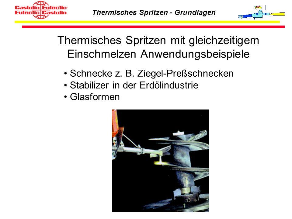 Thermisches Spritzen - Grundlagen Thermisches Spritzen mit gleichzeitigem Einschmelzen Anwendungsbeispiele Schnecke z. B. Ziegel-Preßschnecken Stabili