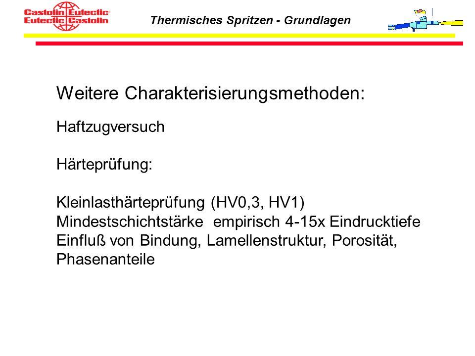 Thermisches Spritzen - Grundlagen Weitere Charakterisierungsmethoden: Haftzugversuch Härteprüfung: Kleinlasthärteprüfung (HV0,3, HV1) Mindestschichtst