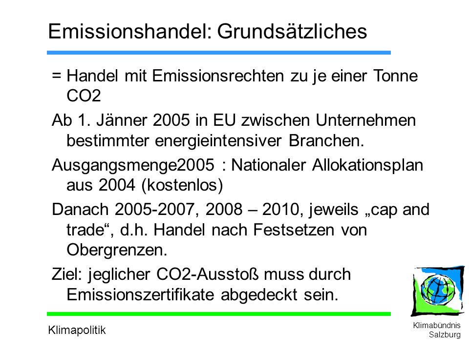 Klimapolitik Klimabündnis Salzburg Emissionshandel: Grundsätzliches = Handel mit Emissionsrechten zu je einer Tonne CO2 Ab 1.