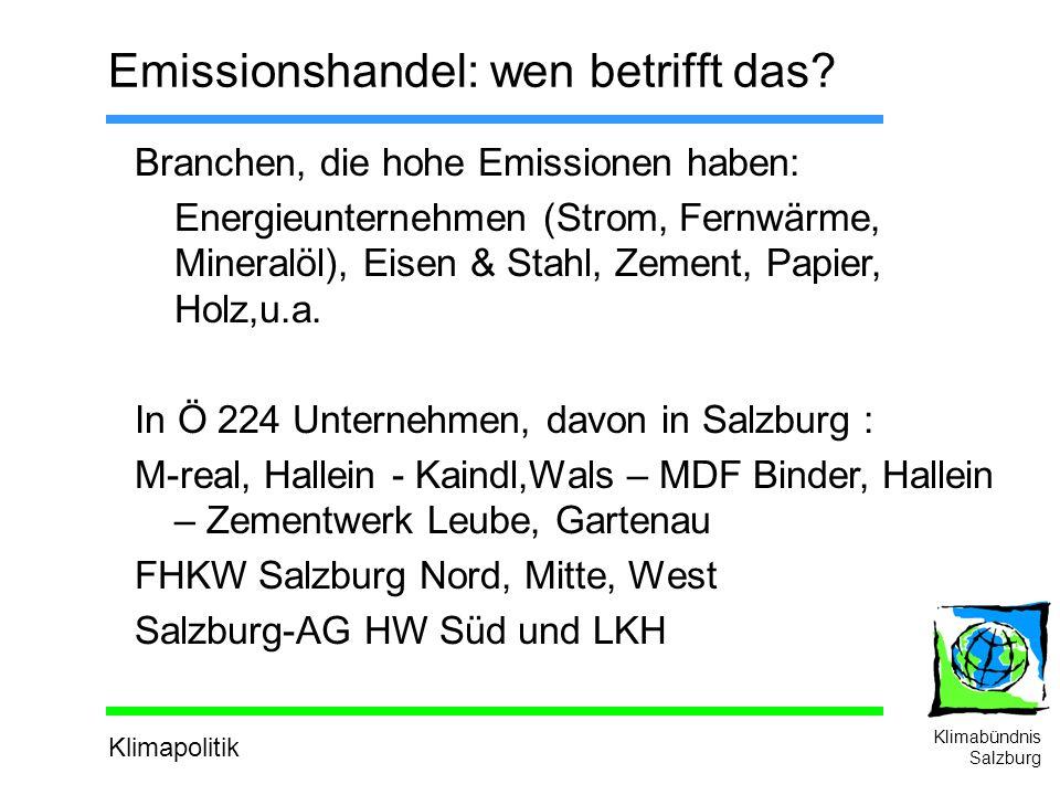 Klimapolitik Klimabündnis Salzburg Emissionshandel: wen betrifft das.