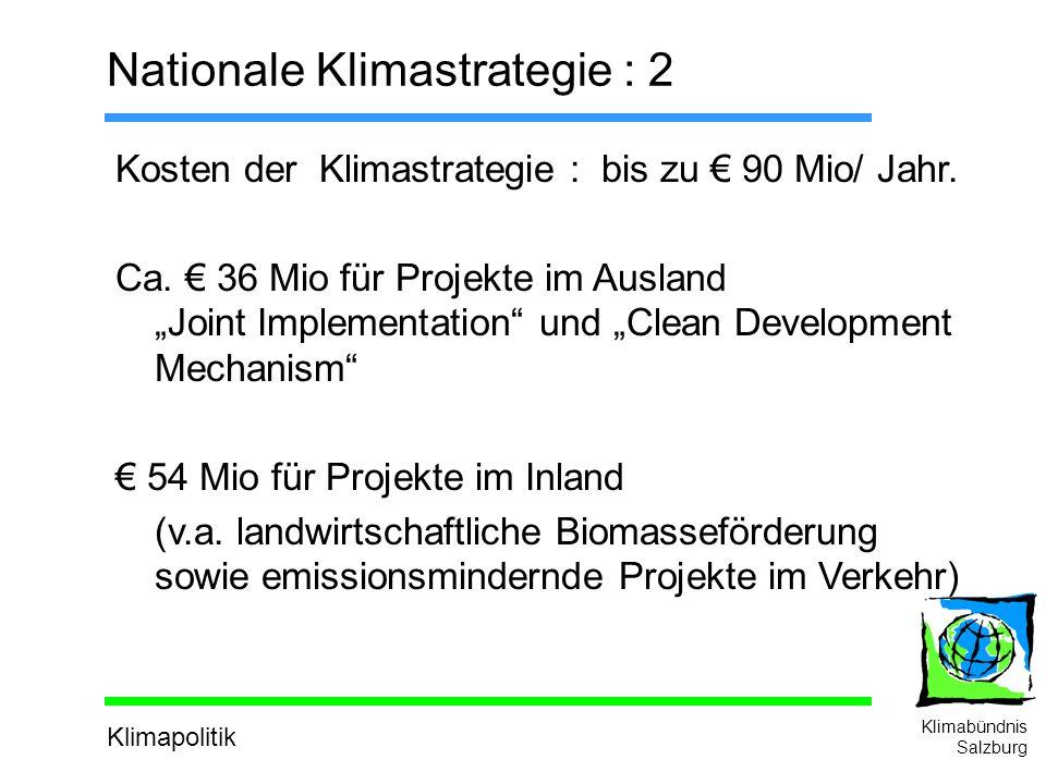 Klimapolitik Klimabündnis Salzburg Nationale Klimastrategie : 2 Kosten der Klimastrategie : bis zu 90 Mio/ Jahr.