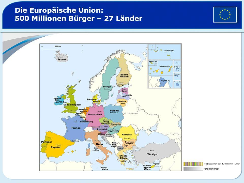 Die Europäische Union: 500 Millionen Bürger – 27 Länder Mitgliedstaaten der Europäischen Union Kandidatenländer