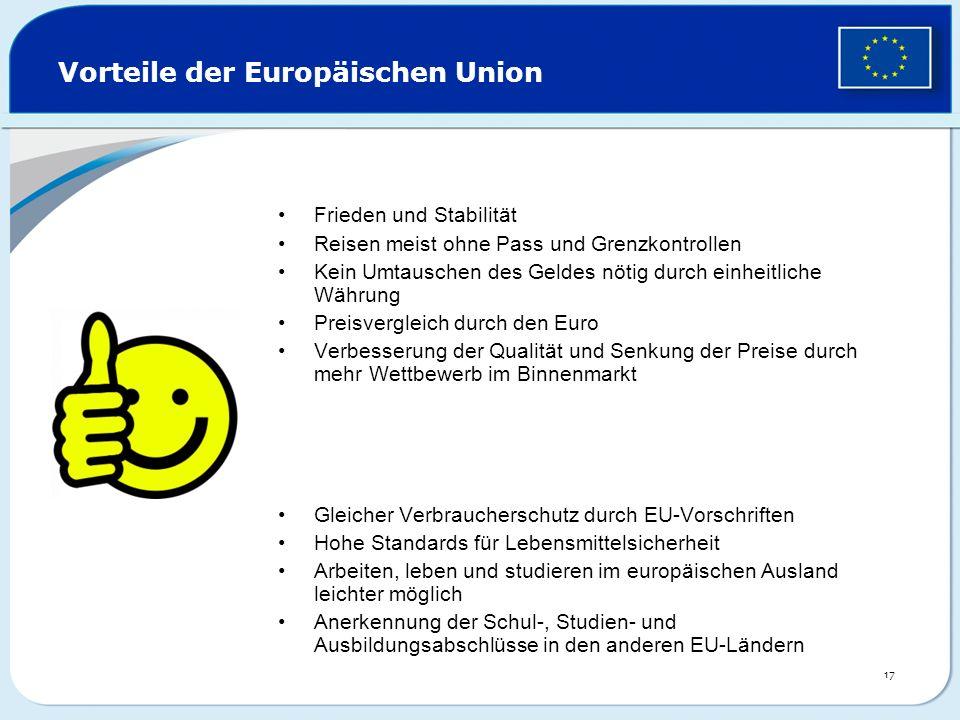 Vorteile der Europäischen Union Frieden und Stabilität Reisen meist ohne Pass und Grenzkontrollen Kein Umtauschen des Geldes nötig durch einheitliche