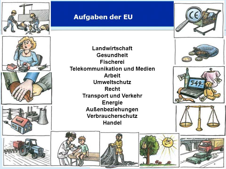 Aufgaben der EU 4 Landwirtschaft Gesundheit Fischerei Telekommunikation und Medien Arbeit Umweltschutz Recht Transport und Verkehr Energie Außenbezieh