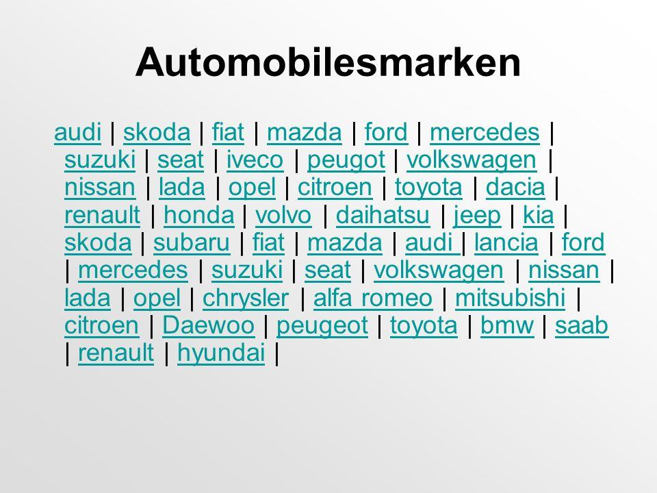 Automobilesmarken audi | skoda | fiat | mazda | ford | mercedes | suzuki | seat | iveco | peugot | volkswagen | nissan | lada | opel | citroen | toyot