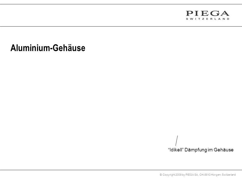 © Copyright 2009 by PIEGA SA, CH-8810 Horgen, Switzerland Aluminium-Gehäuse Idikell Dämpfung im Gehäuse