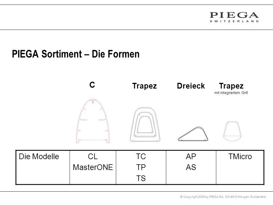 © Copyright 2009 by PIEGA SA, CH-8810 Horgen, Switzerland PIEGA Sortiment – Die Formen C Trapez mit integriertem Grill Die ModelleCL MasterONE TC TP T