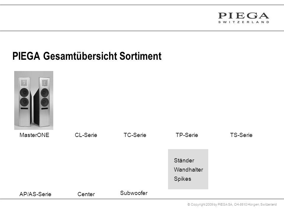© Copyright 2009 by PIEGA SA, CH-8810 Horgen, Switzerland PIEGA Gesamtübersicht Sortiment Subwoofer CenterAP/AS-Serie Ständer Wandhalter Spikes Master