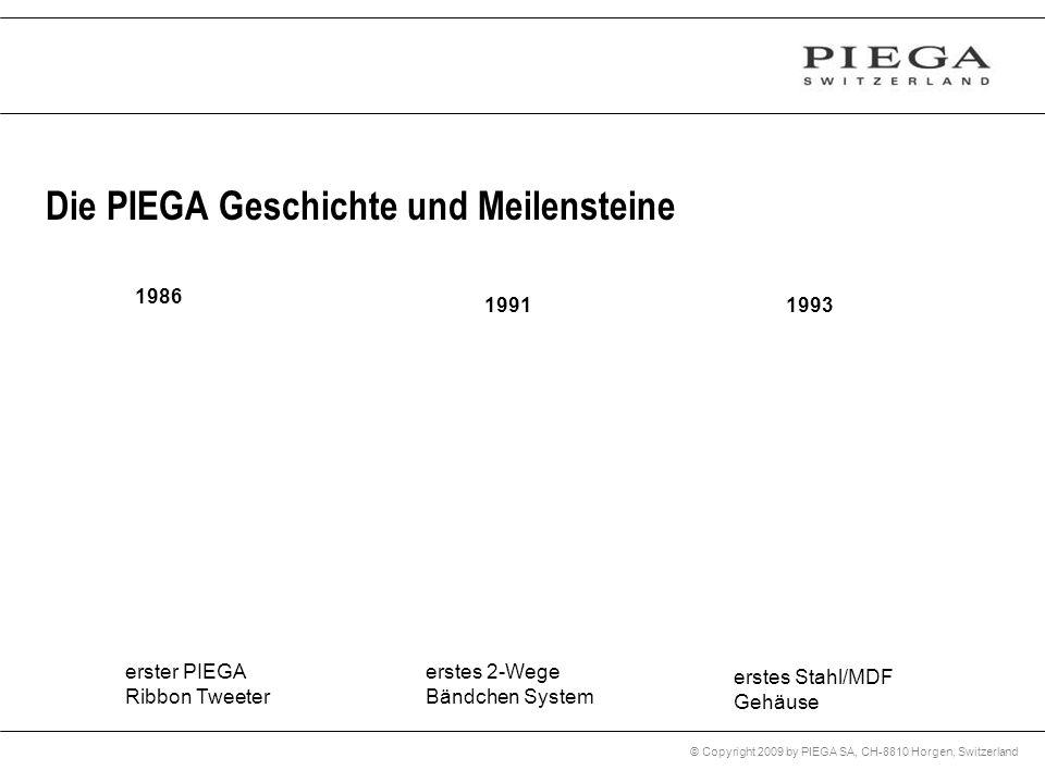 © Copyright 2009 by PIEGA SA, CH-8810 Horgen, Switzerland Die PIEGA Geschichte und Meilensteine 1986 1991 erster PIEGA Ribbon Tweeter erstes 2-Wege Bä