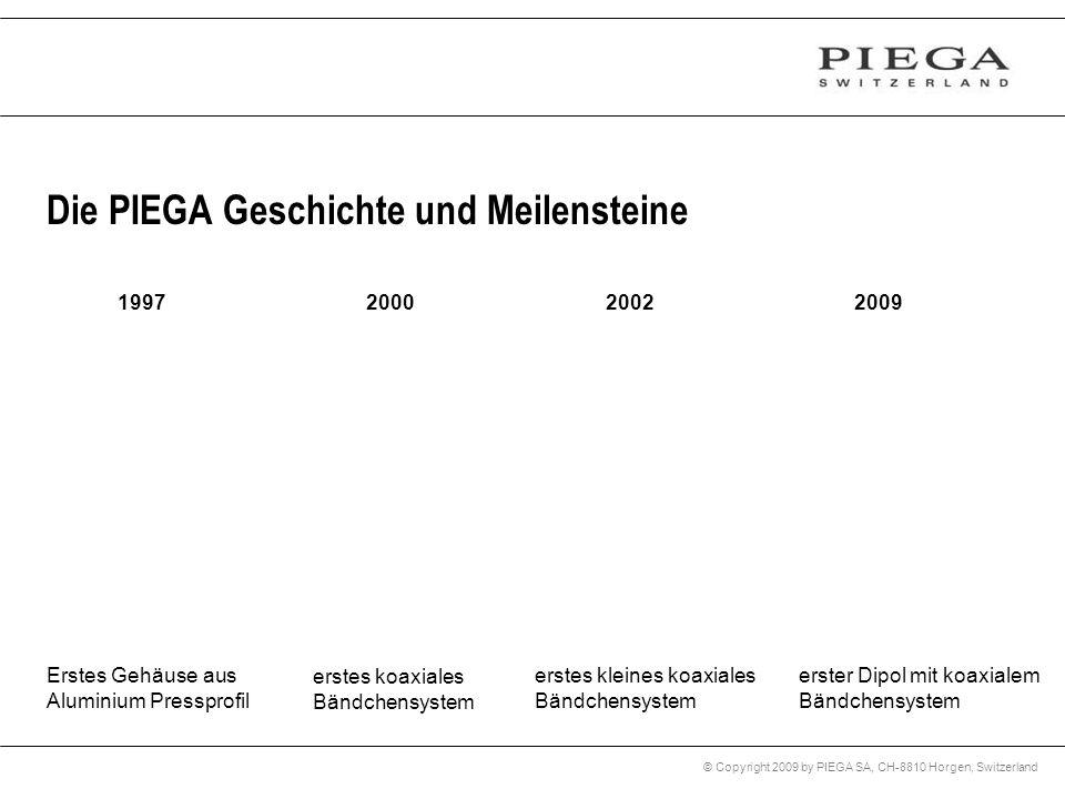 © Copyright 2009 by PIEGA SA, CH-8810 Horgen, Switzerland 1997 Erstes Gehäuse aus Aluminium Pressprofil 2000 erstes koaxiales Bändchensystem Die PIEGA