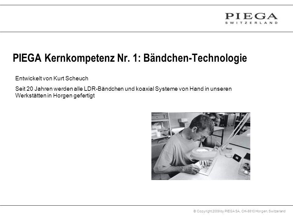 © Copyright 2009 by PIEGA SA, CH-8810 Horgen, Switzerland PIEGA Kernkompetenz Nr. 1: Bändchen-Technologie Entwickelt von Kurt Scheuch Seit 20 Jahren w