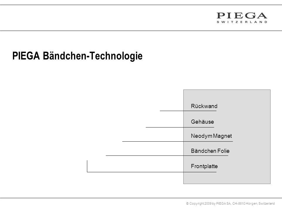 © Copyright 2009 by PIEGA SA, CH-8810 Horgen, Switzerland PIEGA Bändchen-Technologie Rückwand Gehäuse Neodym Magnet Bändchen Folie Frontplatte