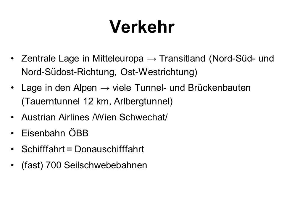 Verkehr Zentrale Lage in Mitteleuropa Transitland (Nord-Süd- und Nord-Südost-Richtung, Ost-Westrichtung) Lage in den Alpen viele Tunnel- und Brückenba