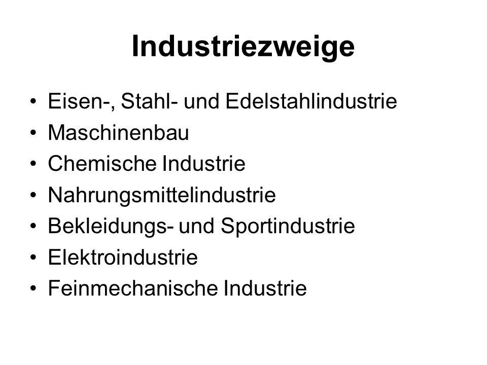 Industriezweige Eisen-, Stahl- und Edelstahlindustrie Maschinenbau Chemische Industrie Nahrungsmittelindustrie Bekleidungs- und Sportindustrie Elektro