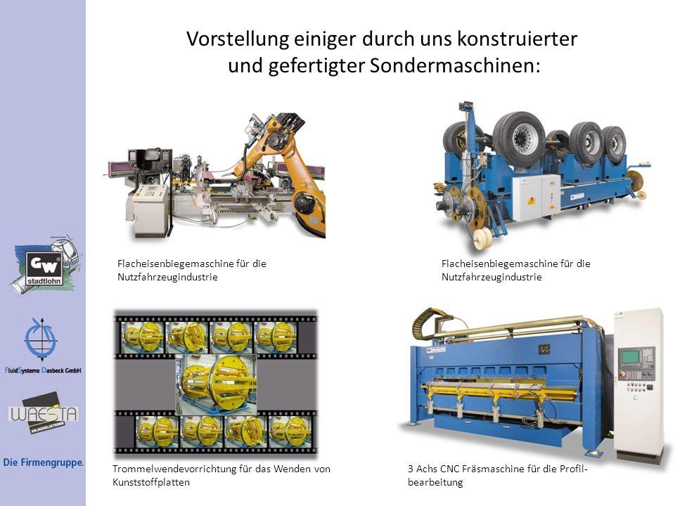 Vorstellung einiger durch uns konstruierter und gefertigter Sondermaschinen: Flacheisenbiegemaschine für die Nutzfahrzeugindustrie Trommelwendevorrich