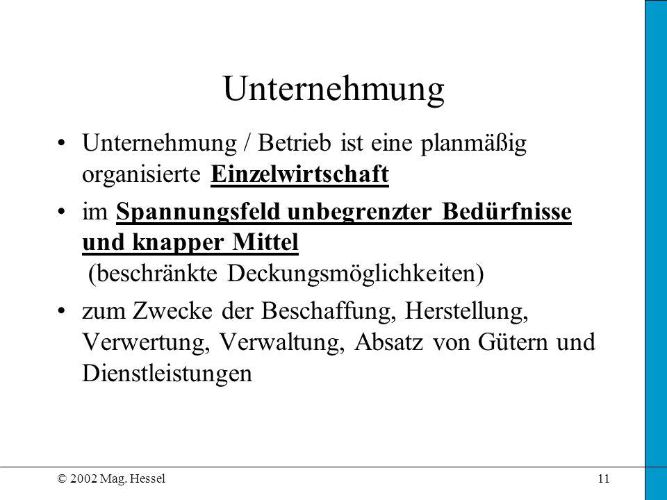 © 2002 Mag. Hessel11 Unternehmung / Betrieb ist eine planmäßig organisierte Einzelwirtschaft im Spannungsfeld unbegrenzter Bedürfnisse und knapper Mit