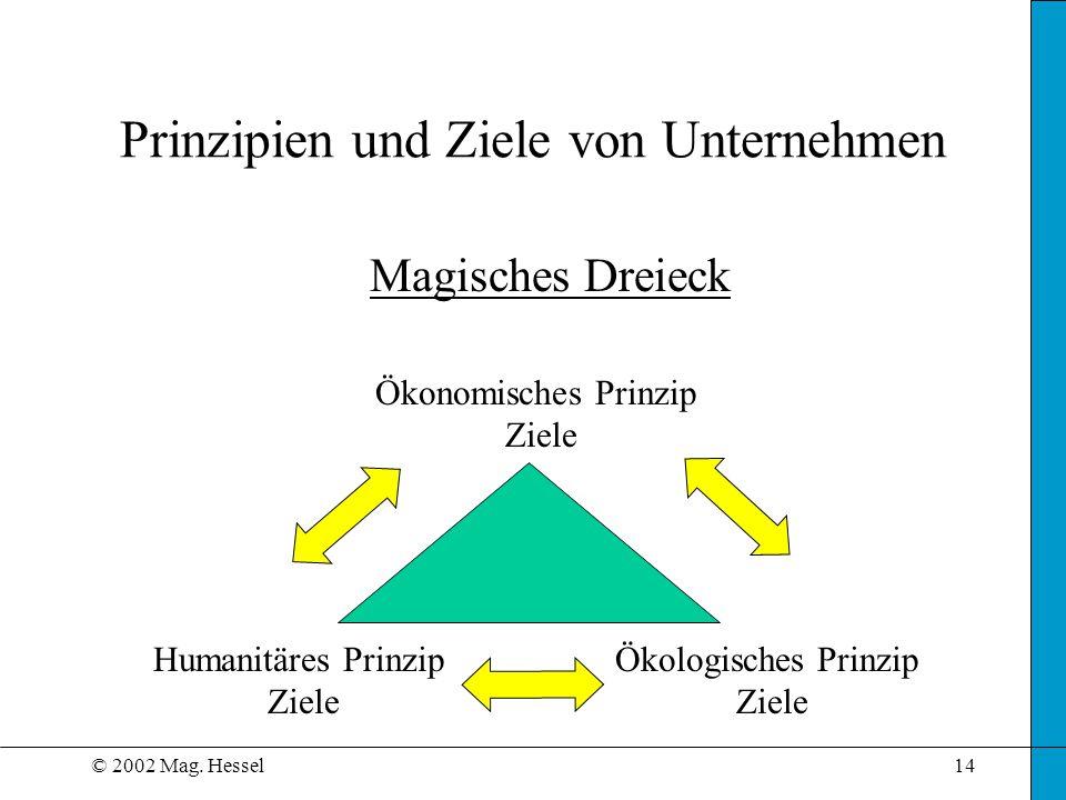 © 2002 Mag. Hessel14 Prinzipien und Ziele von Unternehmen Ökonomisches Prinzip Ziele Humanitäres Prinzip Ziele Ökologisches Prinzip Ziele Magisches Dr