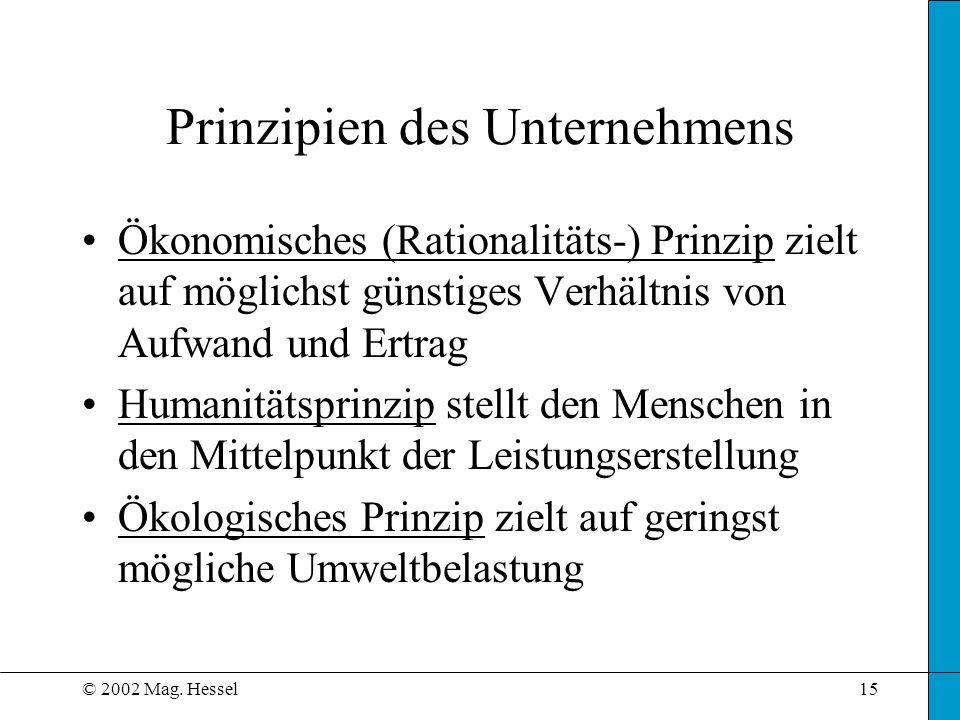© 2002 Mag. Hessel15 Prinzipien des Unternehmens Ökonomisches (Rationalitäts-) Prinzip zielt auf möglichst günstiges Verhältnis von Aufwand und Ertrag