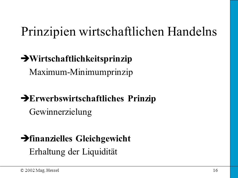 © 2002 Mag. Hessel16 Prinzipien wirtschaftlichen Handelns èWirtschaftlichkeitsprinzip Maximum-Minimumprinzip èErwerbswirtschaftliches Prinzip Gewinner