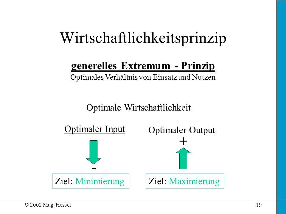 © 2002 Mag. Hessel19 Wirtschaftlichkeitsprinzip generelles Extremum - Prinzip Optimales Verhältnis von Einsatz und Nutzen Optimale Wirtschaftlichkeit