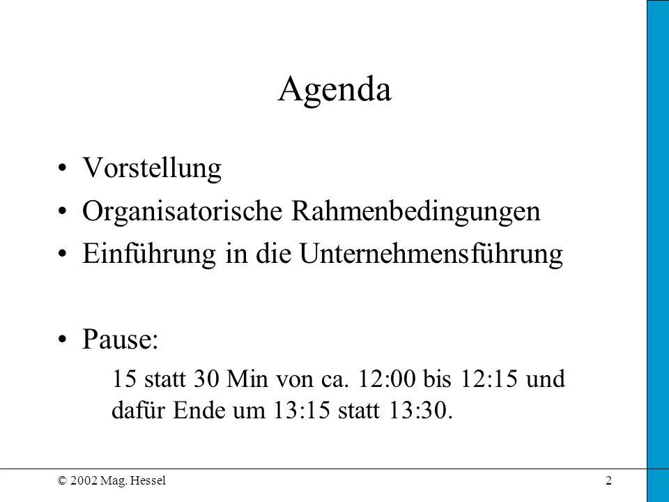 © 2002 Mag. Hessel2 Agenda Vorstellung Organisatorische Rahmenbedingungen Einführung in die Unternehmensführung Pause: 15 statt 30 Min von ca. 12:00 b