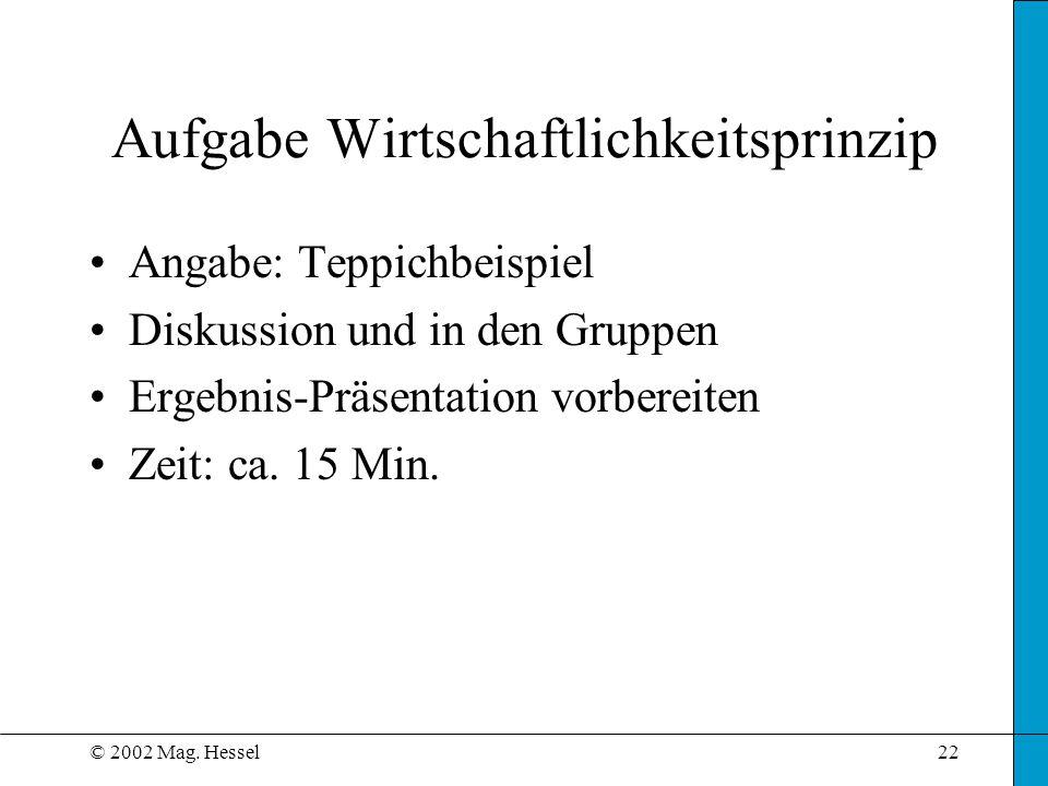 © 2002 Mag. Hessel22 Aufgabe Wirtschaftlichkeitsprinzip Angabe: Teppichbeispiel Diskussion und in den Gruppen Ergebnis-Präsentation vorbereiten Zeit:
