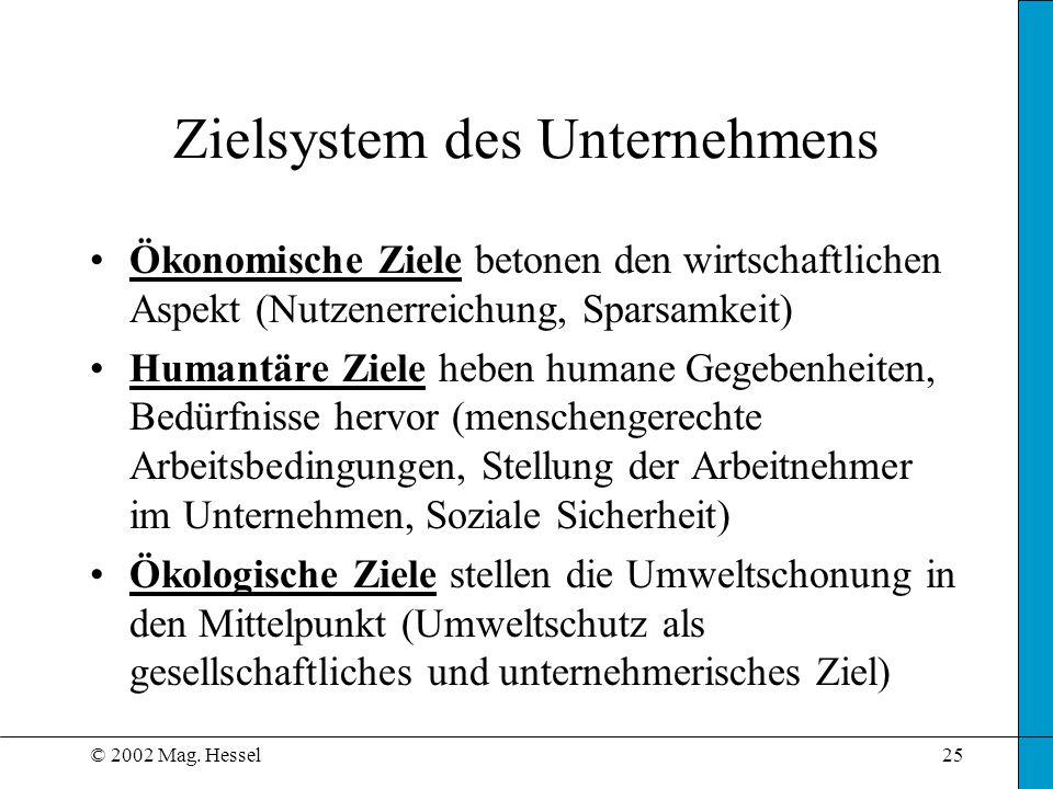 © 2002 Mag. Hessel25 Zielsystem des Unternehmens Ökonomische Ziele betonen den wirtschaftlichen Aspekt (Nutzenerreichung, Sparsamkeit) Humantäre Ziele