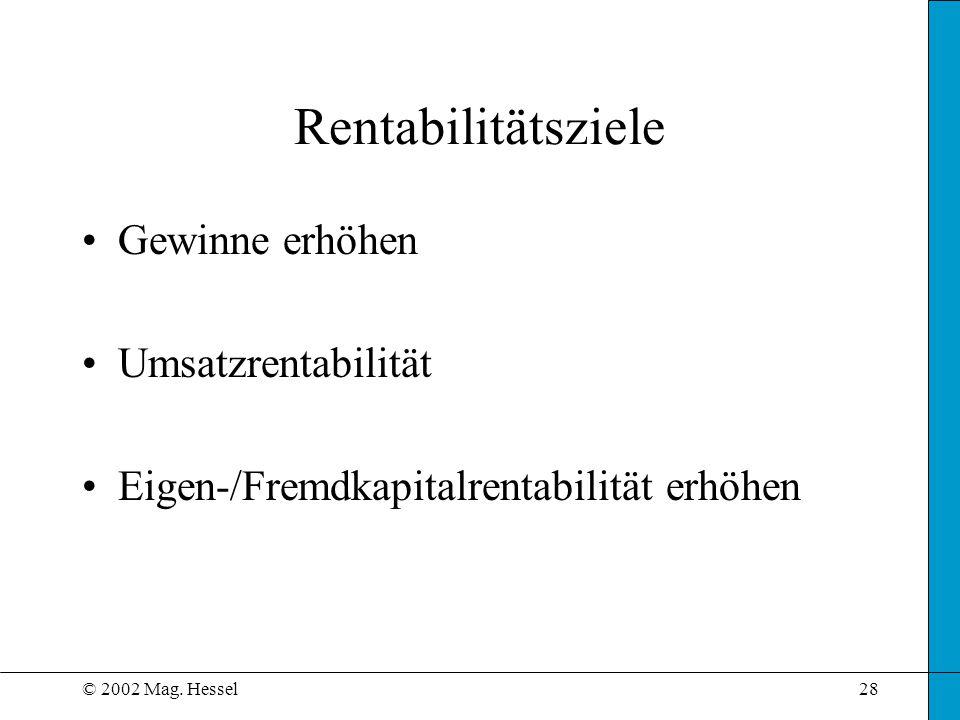 © 2002 Mag. Hessel28 Rentabilitätsziele Gewinne erhöhen Umsatzrentabilität Eigen-/Fremdkapitalrentabilität erhöhen