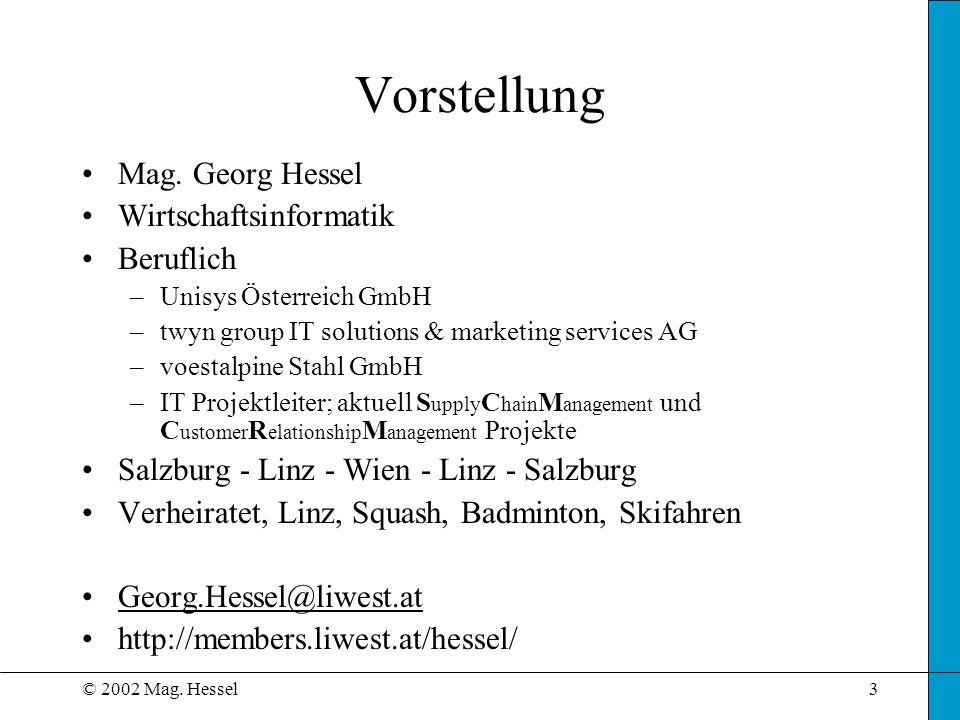 © 2002 Mag. Hessel3 Vorstellung Mag. Georg Hessel Wirtschaftsinformatik Beruflich –Unisys Österreich GmbH –twyn group IT solutions & marketing service