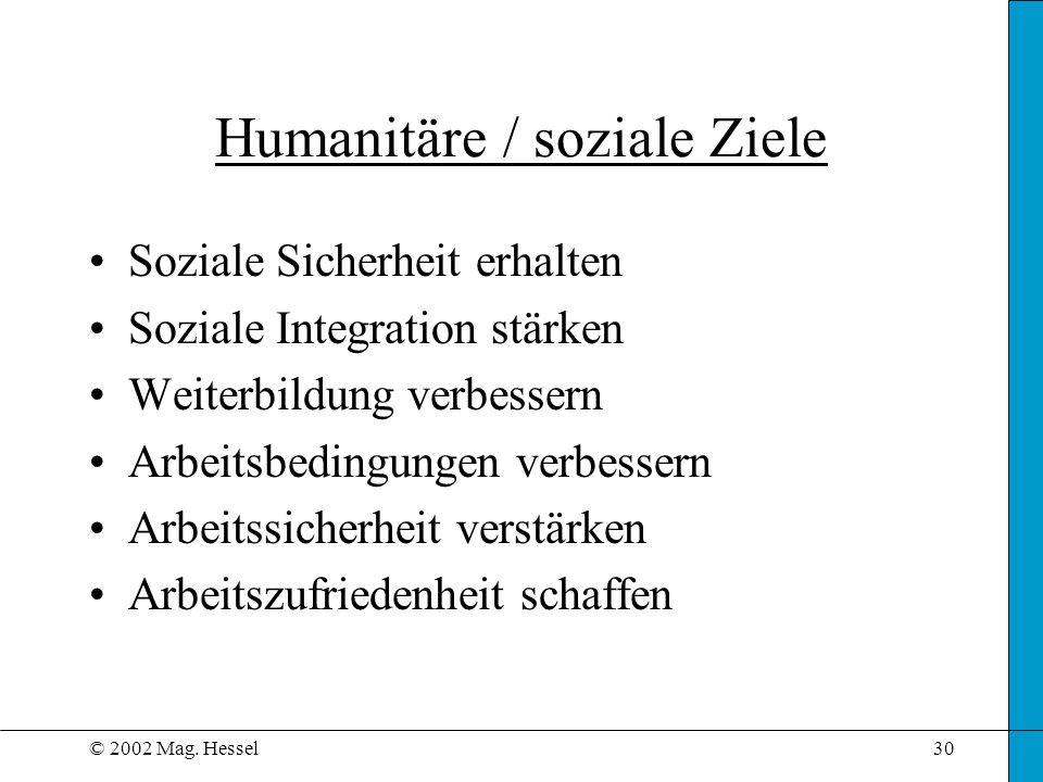 © 2002 Mag. Hessel30 Humanitäre / soziale Ziele Soziale Sicherheit erhalten Soziale Integration stärken Weiterbildung verbessern Arbeitsbedingungen ve