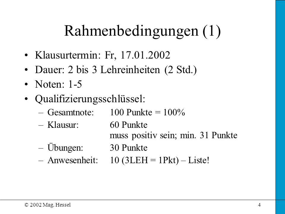 © 2002 Mag. Hessel4 Rahmenbedingungen (1) Klausurtermin: Fr, 17.01.2002 Dauer: 2 bis 3 Lehreinheiten (2 Std.) Noten: 1-5 Qualifizierungsschlüssel: –Ge