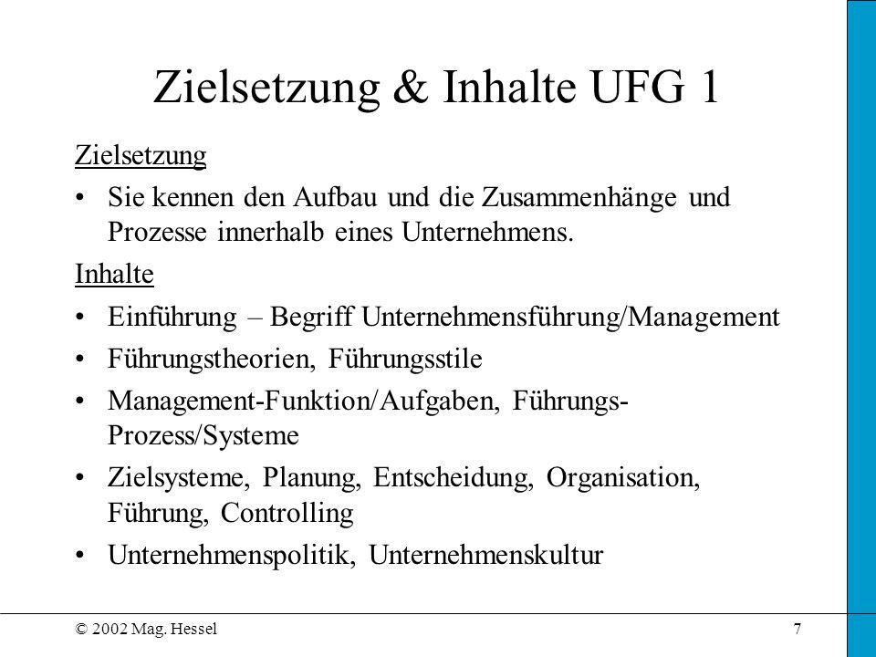 © 2002 Mag. Hessel7 Zielsetzung & Inhalte UFG 1 Zielsetzung Sie kennen den Aufbau und die Zusammenhänge und Prozesse innerhalb eines Unternehmens. Inh