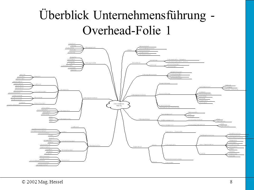 © 2002 Mag. Hessel8 Überblick Unternehmensführung - Overhead-Folie 1