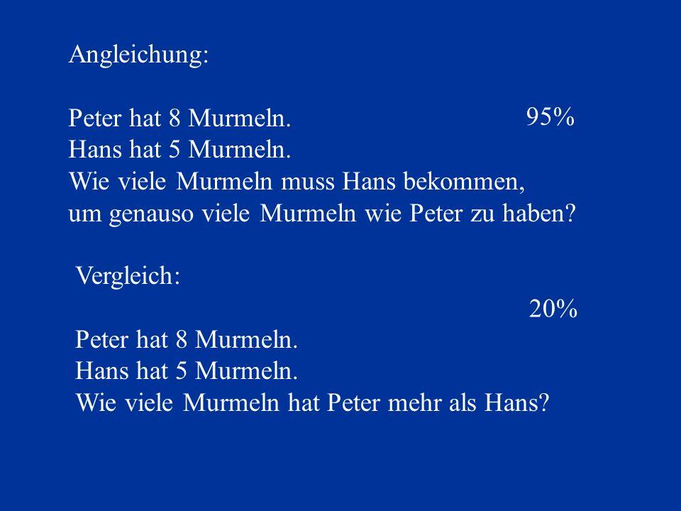 Angleichung: Peter hat 8 Murmeln. Hans hat 5 Murmeln. Wie viele Murmeln muss Hans bekommen, um genauso viele Murmeln wie Peter zu haben? 95% Vergleich