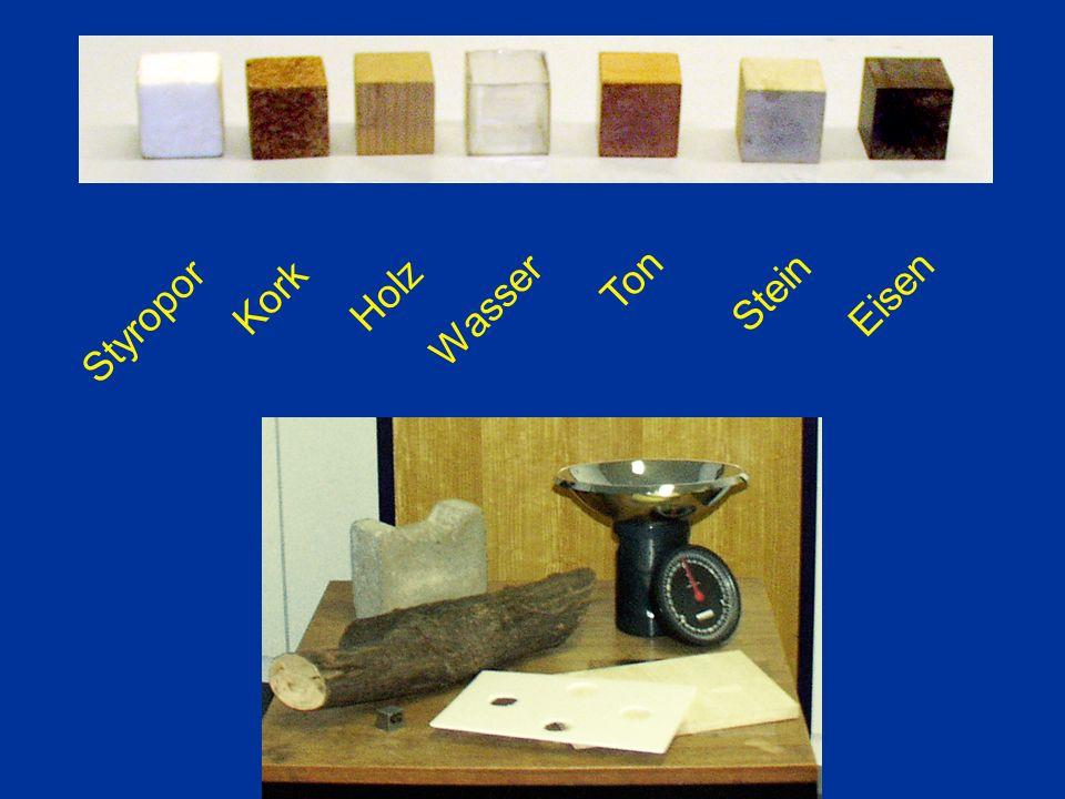 Styropor Kork Holz Wasser Ton Stein Eisen