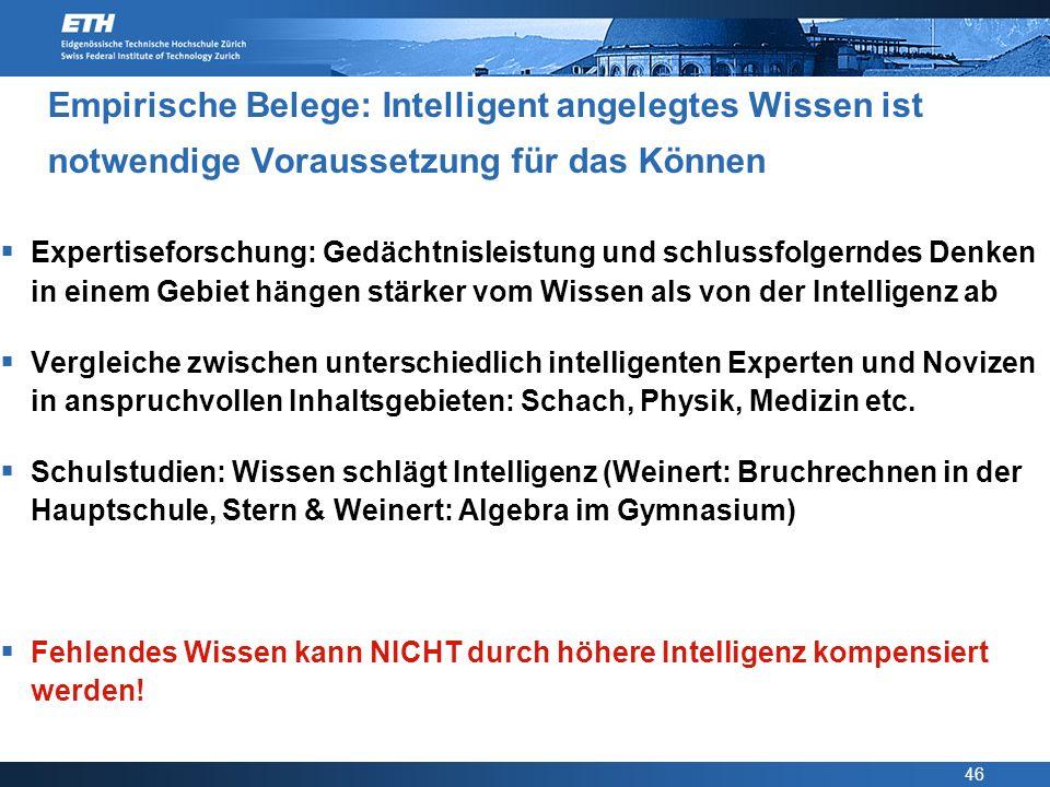 46 Empirische Belege: Intelligent angelegtes Wissen ist notwendige Voraussetzung für das Können Expertiseforschung: Gedächtnisleistung und schlussfolg