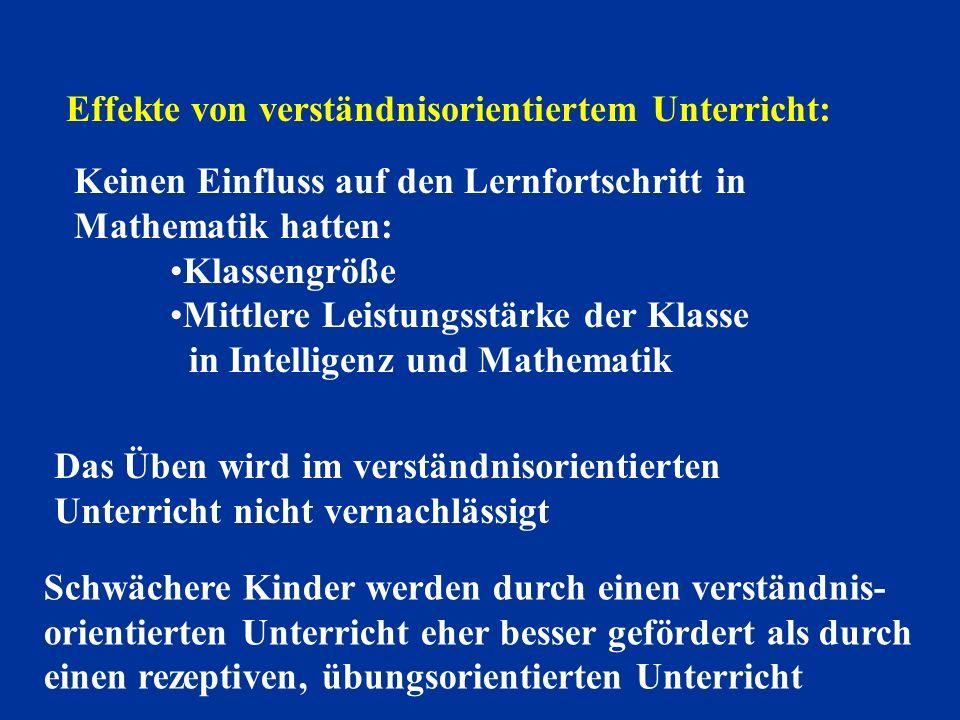 Effekte von verständnisorientiertem Unterricht: Keinen Einfluss auf den Lernfortschritt in Mathematik hatten: Klassengröße Mittlere Leistungsstärke de