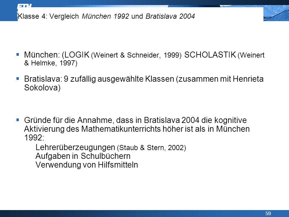 59 Klasse 4: Vergleich München 1992 und Bratislava 2004 München: (LOGIK (Weinert & Schneider, 1999) SCHOLASTIK (Weinert & Helmke, 1997) Bratislava: 9