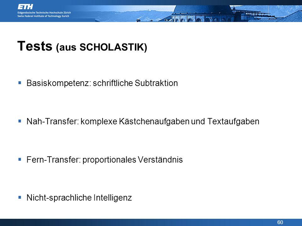 60 Tests (aus SCHOLASTIK) Basiskompetenz: schriftliche Subtraktion Nah-Transfer: komplexe Kästchenaufgaben und Textaufgaben Fern-Transfer: proportiona
