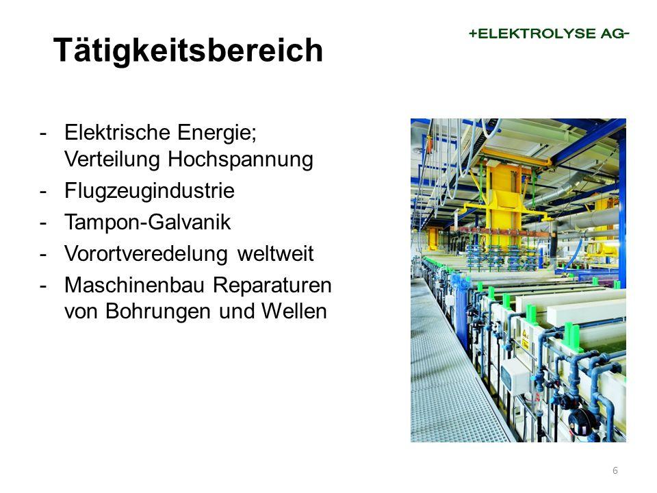 -Elektrische Energie; Verteilung Hochspannung -Flugzeugindustrie -Tampon-Galvanik -Vorortveredelung weltweit -Maschinenbau Reparaturen von Bohrungen u