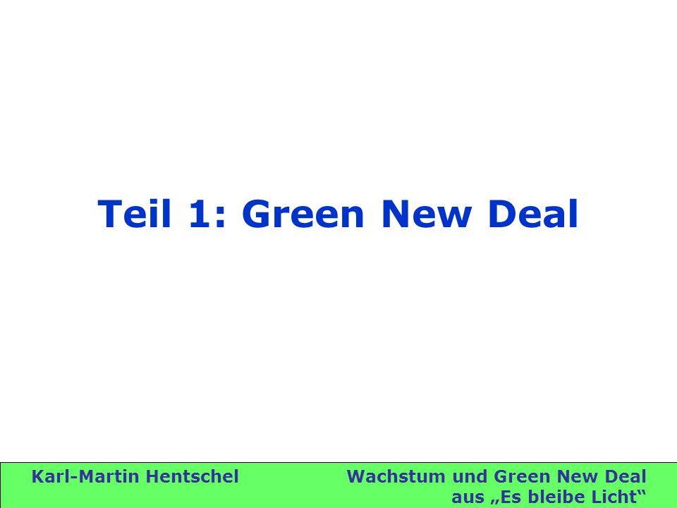 Karl-Martin Hentschel Wachstum und Green New Deal aus Es bleibe Licht Green New Deal Roosevelt 1932 – New Deal Al Gore 1990 – Marshall-Plan für die Erde Weizsäcker 1995 – Faktor Vier Sir Nicholas Stern 2006 – Global New Deal Thomas L.