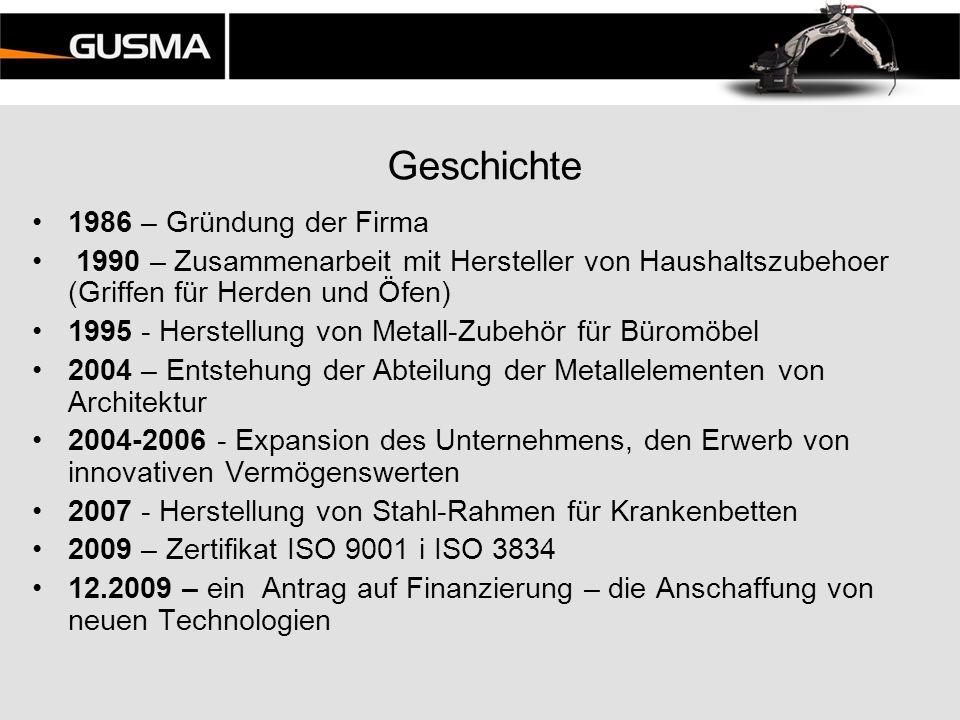 Geschichte 1986 – Gründung der Firma 1990 – Zusammenarbeit mit Hersteller von Haushaltszubehoer (Griffen für Herden und Öfen) 1995 - Herstellung von M