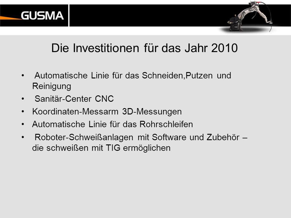 Die Investitionen für das Jahr 2010 Automatische Linie für das Schneiden,Putzen und Reinigung Sanitär-Center CNC Koordinaten-Messarm 3D-Messungen Auto