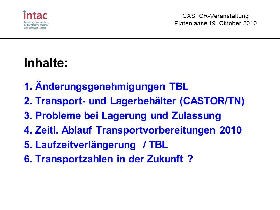 CASTOR-Veranstaltung Platenlaase 19. Oktober 2010 Inhalte: 1. Änderungsgenehmigungen TBL 2. Transport- und Lagerbehälter (CASTOR/TN) 3. Probleme bei L