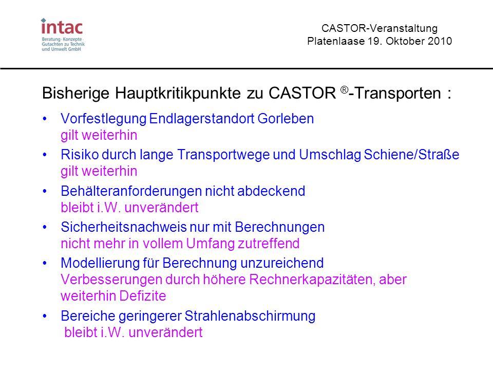 CASTOR-Veranstaltung Platenlaase 19. Oktober 2010 Bisherige Hauptkritikpunkte zu CASTOR ® -Transporten : Vorfestlegung Endlagerstandort Gorleben gilt