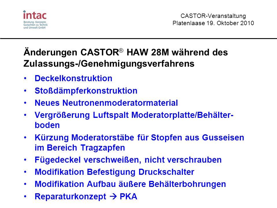 CASTOR-Veranstaltung Platenlaase 19. Oktober 2010 Änderungen CASTOR ® HAW 28M während des Zulassungs-/Genehmigungsverfahrens Deckelkonstruktion Stoßdä