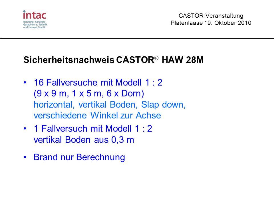 CASTOR-Veranstaltung Platenlaase 19. Oktober 2010 Sicherheitsnachweis CASTOR ® HAW 28M 16 Fallversuche mit Modell 1 : 2 (9 x 9 m, 1 x 5 m, 6 x Dorn) h