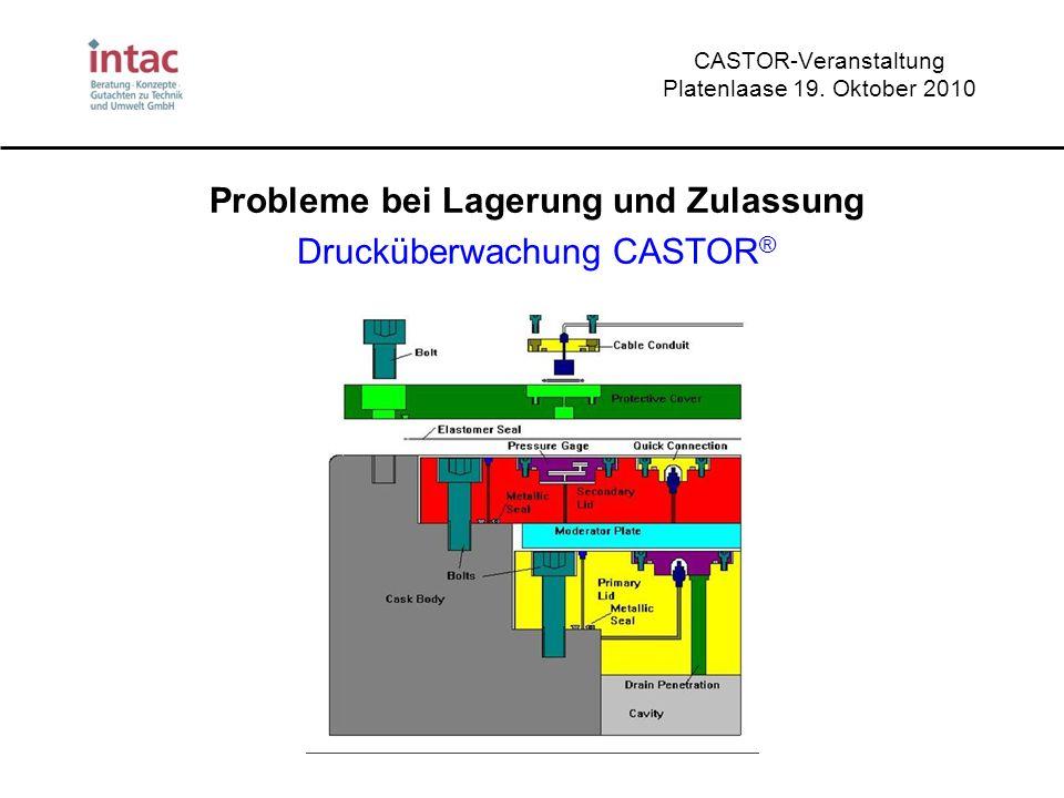 Probleme bei Lagerung und Zulassung Drucküberwachung CASTOR ®